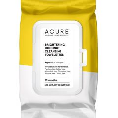Acure Brightening Coconut Cleansing Towelettes (Factory Case), 360 Towelettes, 12 x 30 Towelettes