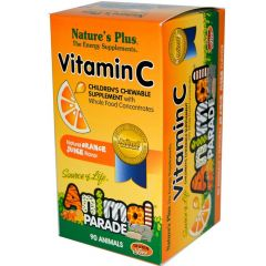 Nature's Plus Animal Parade Vitamin C Chews, 90 Animal-Shaped Chewable Tablets