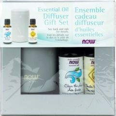 NOW Essential Oil Diffuser Gift Set (Clear The Air+Smiles For Miles+USB Diffuser)
