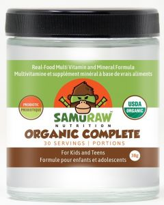 Samuraw Nutrition Organic Complete For Kids & Teens, Real-Food Multi-vitamin & Mineral with Probiotic Derived from 24 Organic Fruits & Vegetables, 38g - 30 Servings
