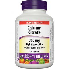 Webber Naturals Calcium Citrate, High Absorption, 300 mg, 120 Tablets