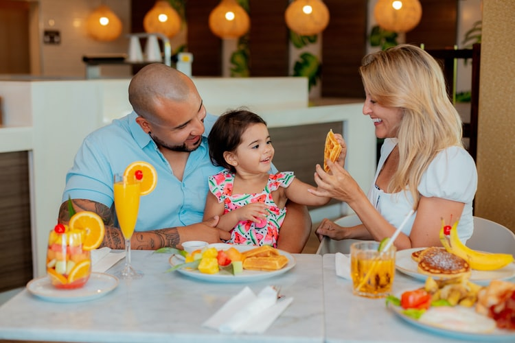 Family enjoying a healthy meal together