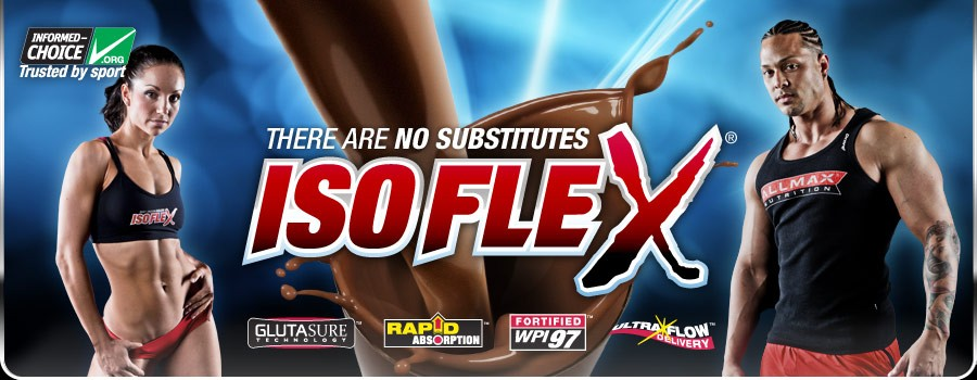 Fit man and woman standing beside Allmax Isoflex logo