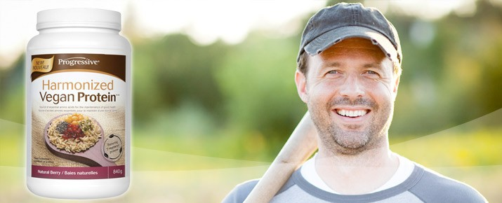 man playing baseball with progressive harmonized vegan protein