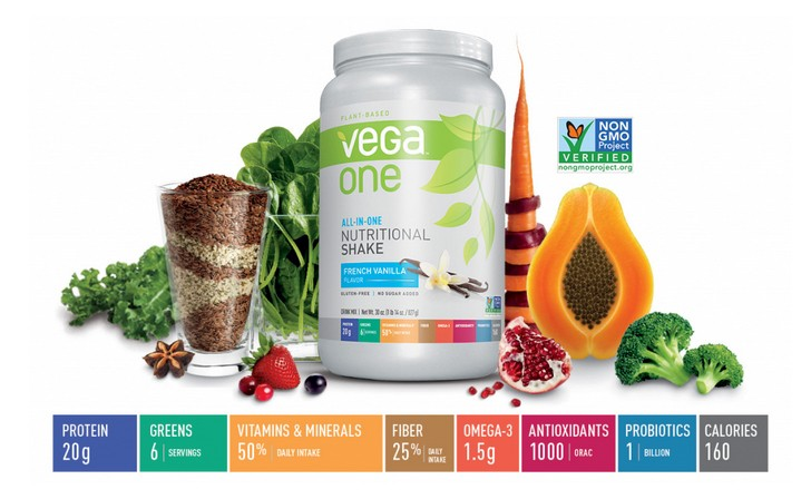 tub of vega one surrounded by fruits and veggies